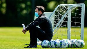 Shamrock Rovers boss Stephen Bradley oversees training earlier this month – Hoops' backing was crucial to return plans. Photo: Seb Daly/Sportsfile