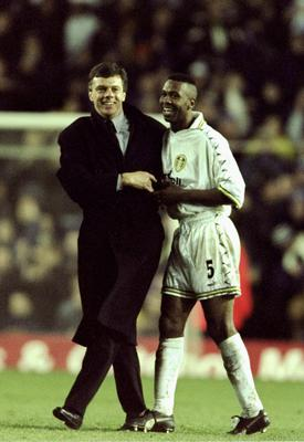 Lucas Radebe shares a smile with former Leeds United team-mate and then Elland Road manager David O'Leary after scoring the winner against Spartak Moscow in the Uefa Cup third round in 1999. Photo: Mark Thompson /Allsport