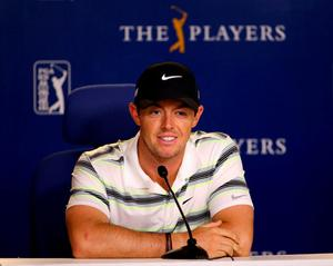 Rory McIlroy of Northern Ireland speaks ot the media during a practice round for THE PLAYERS Championship at the TPC Sawgrass