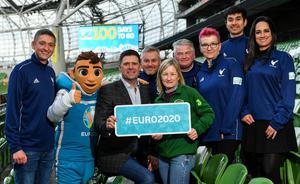 FAI Interim Deputy CEO Niall Quinn joined ex Republic of Ireland Womens international Olivia OToole as well as representatives from the UEFA EURO 2020 volunteers and mascot Skillzy to mark the 100 Days To Go milestone in Dublin. Photo by Seb Daly/Sportsfile