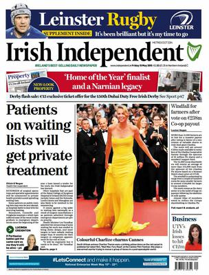 The front page of the Irish Independent front page