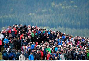 28 May 2015; A general view of large crowds on the course. Dubai Duty Free Irish Open Golf Championship 2015, Day 1. Royal County Down Golf Club, Co. Down. Picture credit: Ramsey Cardy / SPORTSFILE