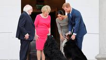 Picture shows, the arrival of H.R.H. The Duke of Sussex and H.R.H. The Duchess of Sussex to Áras an Uachtaráin greeted by President Michael D. Higgins and his wife Sabina Higgins. JULIEN BEHAL