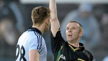 MARCHING ORDERS: Referee Michael Duffy shows a red card to Dublin's Paul Flynn during the Allianz Football League, Division 1, Round 2 refixture at MacHale Park, Castlebar in March 2012