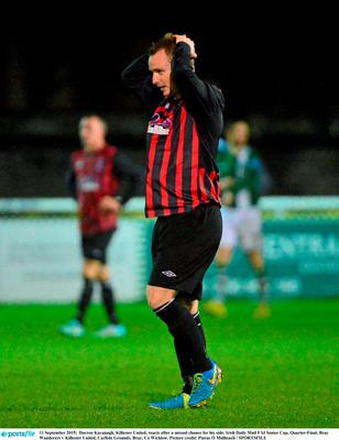 11 September 2015;  Darren Kavanagh, Killester United, reacts after a missed chance for his side. Irish Daily Mail FAI Senior Cup, Quarter-Final, Bray Wanderers v Killester United, Carlisle Grounds, Bray, Co Wicklow. Picture credit: Piaras ? M?dheach / SPORTSFILE