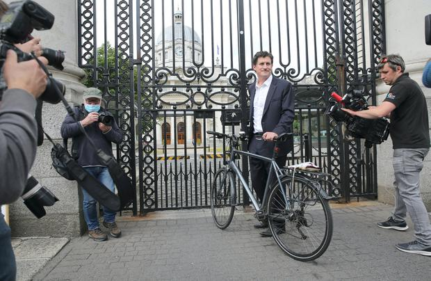 Green Party leader Eamon Ryan TD arrives at Government Buildings on Merrion Street, Dublin. Photo: Gareth Chaney/Collins Photos