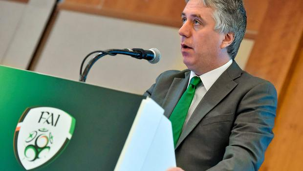 Like a moth to the flame, FAI chief executive John Delaney couldn't resist getting close to the heat. Photo: David Maher / SPORTSFILE