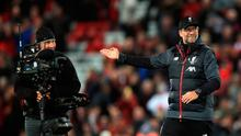 Liverpool manager Jurgen Klopp (right) gestures to a TV camera after the Premier League match at Anfield, Liverpool. Sunday October 27, 2019. Peter Byrne/PA Wire.