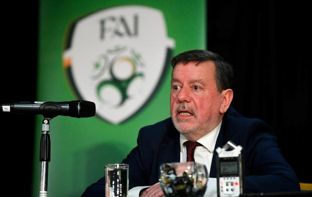 FAI President Donal Conway during a press conference following the FAI Annual General Meeting at the Citywest Hotel in Dublin. Photo: Ramsey Cardy/Sportsfile