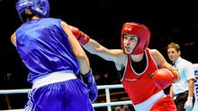 Katie Taylor, Ireland exchanges punches with Yana Allekseevna, Azerbaijan