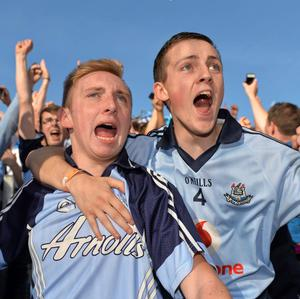 22 September 2013; Dublin supporters Keith McCarthy and Jason Weldy celebrate after Dublin won the GAA Senior Football All-Ireland Championship Final. Croke Park, Dublin. Picture credit: Barry Cregg / SPORTSFILE