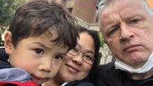 Advice: Greg McDonough, his wife Wang Xuan and their son Joseph were in lockdown for 47 days