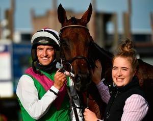 Jockey Patrick Mullins celebrates with handler Rachel Boyd after victory in the Guinness Dublin Hurdle Handicap on Aramon during day four of the Dublin Summer Racing Festival at Ballybrit Racecourse in Dublin. Photo by Harry Murphy/Sportsfile