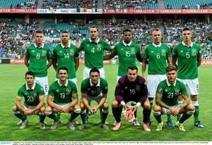 4 September 2015; The Republic of Ireland team, back row, from left to right, James McCarthy, Jonathan Walters, John O'Shea, Cyrus Christie, Glenn Whelan and Ciaran Clark. Front row, from left to right, Wes Hoolahan, Robbie Brady, Robbie Keane, Shay Given and Jeff Hendrick. UEFA EURO 2016 Championship Qualifier, Group D, Gibraltar v Republic of Ireland. Est?dio Algarve, Faro, Portugal.  Picture credit: David Maher / SPORTSFILE