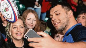 England rising star Ellis Genge poses for a selfie after an open training session at Twickenham last weekend. Photo: Alex Davidson - RFU/The RFU Collection via Getty Images