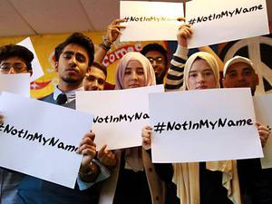 British Muslims at the Active Change Foundation youth centre in Leytonstone, east London, launch a social media campaign against Isis (PA)