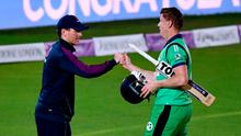 England captain Eoin Morgan (left) congratulates Ireland's Kevin O'Brien after he secures runs to win the third One Day International match at the Ageas Bowl, Southampton.