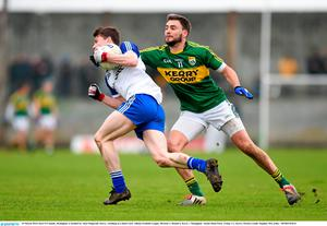 29 March 2015; Karl O'Connell, Monaghan, is tackled by Alan Fitzgerald, Kerry, resulting in a black card. Allianz Football League, Division 1, Round 6, Kerry v Monaghan. Austin Stack Park, Tralee, Co. Kerry. Picture credit: Stephen McCarthy / SPORTSFILE
