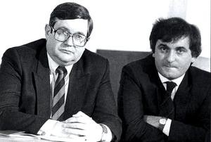 Ministers Ray Burke and Bertie Ahern in 1989