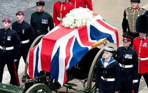 Margaret Thatcher on her last journey: controversial to the last