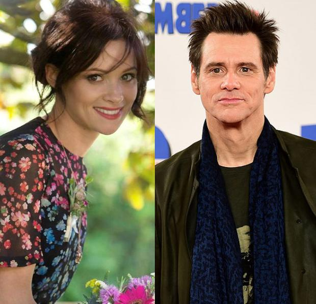 Cathriona White, left, and Jim Carrey, right