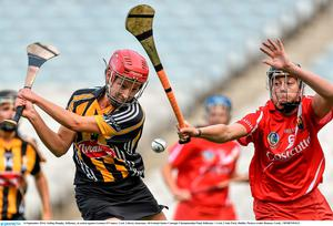 14 September 2014; Aisling Dunphy, Kilkenny, in action against Gemma O'Connor, Cork. Liberty Insurance All Ireland Senior Camogie Championship Final, Kilkenny v Cork, Croke Park, Dublin. Picture credit: Ramsey Cardy / SPORTSFILE