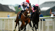 The Michael Halford-trained Roman Turbo and jockey Ronan Whelan edge out runner-up Papa Bear (centre) and Dark Vadar (right) to land the opening Barronstown Stud Maiden at the Curragh yesterday. Photo: Sportsfile