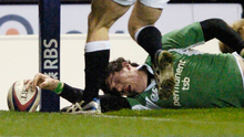 Shane Horgan touches down to score the last-gasp winning try for Ireland against England at Twickenham in 2006