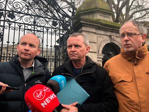 Solidarity-People Before Profit TDs (left to right) Paul Murphy, Richard Boyd-Barrett and Mick Barry speak to media outside Leinster House in Dublin, as government formation talks intensify. Photo: Aine McMahon/PA Wire