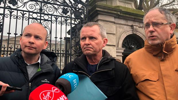 Solidarity-People Before Profit TDs Paul Murphy Richard Boyd Barrett and Mick Barry speak to media outside Leinster House in Dublin as government formation talks intensify