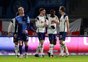 Tottenham Hotspur's Tanguy Ndombele celebrates scoring their fourth goal with Pierre-Emile Hojbjerg and Harry Kane