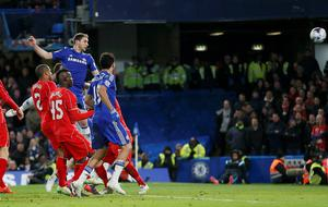 Chelsea's Branislav Ivanovic (3rd L) scores against Liverpool during their English League Cup semi-final second leg soccer match at Stamford Bridge in London January 27, 2015.                REUTERS/Stefan Wermuth (BRITAIN  - Tags: SOCCER SPORT)