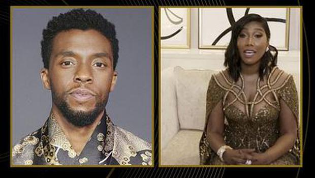 "Taylor Simone Ledward accepts the award for Best Actor in a Motion Picture - Drama for ""Ma Rainey's Black Bottom"" on behalf of her late husband Chadwick Boseman in this handout screen grab from the 78th Annual Golden Globe Awards  NBC Handout via REUTERS"