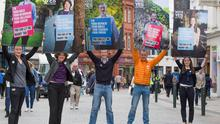 The Campaign for Civil Marriage Equality launched a new series of campaign posters on Friday featuring real lesbian and gay citizens of Ireland, from all walks of life. Photo: (Left-right) Sarah Gilligan, Sandra Irwin-Gowran, David Caron, John Curren and Celeste Roche.