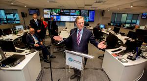 Taoiseach Enda Kenny opens the digital-led news hub at INM, watched on by INM Chairman Leslie Buckley, INM Editor-In-Chief Stephen Rae, Independent.ie Editor Fionnuala O'Leary and Group Head of Content Ian Mallon. Photo: Mark Condren