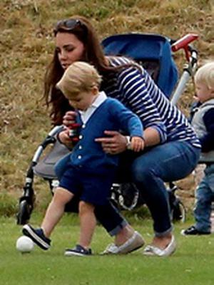 The Duchess of Cambridge with Prince George, as the Duke of Cambridge and Prince Harry take part in a charity polo match at Beaufort Polo Club in Tetbury, Gloucestershire. PRESS ASSOCIATION Photo. Picture date: Sunday June 14, 2015. Photo credit should read: Steve Parsons/PA Wire
