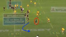 Anton Lienert-Brown (red) makes an aggressive read in defence, which doesn't pay off. Consequently, his centre partner Jack Goodhue (blue) has to sweep in behind him and attempt to mop up the danger. It's not enough however, as Australia take advantage of Lienert-Brown's error and score an early try through Reece Hodge