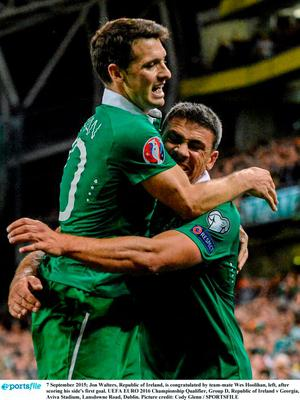 7 September 2015; Jon Walters, Republic of Ireland, is congratulated by team-mate Wes Hoolihan, left, after scoring his side's first goal. UEFA EURO 2016 Championship Qualifier, Group D, Republic of Ireland v Georgia, Aviva Stadium, Lansdowne Road, Dublin. Picture credit: Cody Glenn / SPORTSFILE