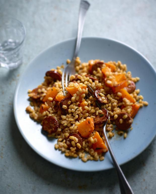 Butternut squash and barley risotto with chorizo