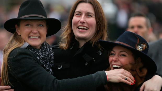 From left: Joe Sharpe, Gail Carlisle and Anna Paoletti from Willie Mullins' yard in Carlow celebrate after Penhill won yesterday Picture: Damien Eagers