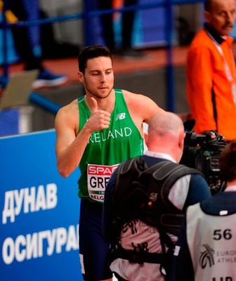 Brian Gregan of Ireland ahead of competing in his Men's 400m Heat during the European Indoor Athletics Championships