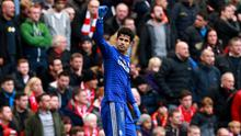 Chelsea's Diego Costa celebrates scoring his side's second goal during the Barclays Premier League match at Anfield, Liverpool. PRESS ASSOCIATION Photo. Picture date: Saturday November 8, 2014. See PA story SOCCER Liverpool. Photo credit should read Peter Byrne/PA Wire. Editorial use only. Maximum 45 images during a match. No video emulation or promotion as 'live'. No use in games, competitions, merchandise, betting or single club/player services. No use with unofficial audio, video, data, fixtures or club/league logos.