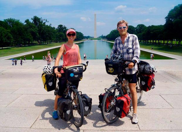 Jo and Paul Casey on the US leg of their global cycle