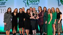 Ayeisha McFerran and members of the Irish ladies hockey team are presented with the award for Magic Moment in sport by Muirean King from The Croke Park and Arlene Regan from the Irish Independent during the 2019 Irish Independent Sport Star Awards with The Croke Park at the Croke Park Stadium in Dublin. Photo by Matt Browne/Sportsfile