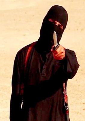 """(FILES) A file image grab taken from a video released by the Islamic State (IS) and identified by SITE Intelligence Group on September 2, 2014 purportedly shows a masked militant holding a knife and gesturing as he speaks to the camera in a desert landscape before beheading 31-year-old US freelance writer Steven Sotloff. """"Jihadi John"""", the masked Islamic State militant apparently responsible for the beheading of western hostages including journalists James Foley and Steven Sotloff, was on February 26, 2015 named as London man Mohammed Emwazi by the Washington Post and the BBC. AFP PHOTO / SITE INTELLIGENCE GROUP / HO === RESTRICTED TO EDITORIAL USE - MANDATORY CREDIT """"AFP PHOTO / HO / SITE INTELLIGENCE GROUP    - NO MARKETING NO ADVERTISING CAMPAIGNS - DISTRIBUTED AS A SERVICE TO CLIENTS FROM ALTERNATIVE SOURCES, AFP IS NOT RESPONSIBLE FOR ANY DIGITAL ALTERATIONS TO THE PICTURE'S ===HO/AFP/Getty Images"""