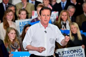British Prime Minister David Cameron gives a speech at an election rally at The Corsham School in Chippenham, south west England. Photo: Reuters