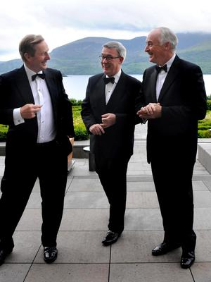 Taoiseach Enda Kenny with Kieran McLoughlin, president and CEO of the Worldwide Ireland Funds, and John Fitzpatrick, chairman of the American-Ireland Fund, at the 30th annual conference of the Worldwide Ireland Funds in the Europe Hotel, Killarney Photo: Don McMonagle