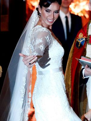 British TV personality Christine Bleakley arrives at a church in London, Britain, December 20, 2015, as she prepares to marry former Chelsea and England soccer player Frank Lampard