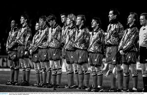 15 February 1995; The England team, from left to right, Paul Ince, Tony Adams, Graeme Le Saux, Matt Le Tissier, Darren Anderton, Gary Pallister, Warren Barton, Alan Shearer, Peter Beardsley, David Seaman and David Platt. International Friendly, Republic of Ireland v England, Lansdowne Road, Dublin. Picture credit: Ray McManus / SPORTSFILE