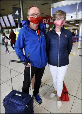 Michael and Eileen Clair from Co Clare who wer travelling to the South of France at Dublin Airport. Photo by Steve Humphreys